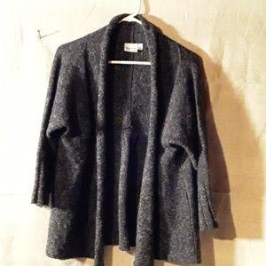 Habitat womens sweater shawl, dark gray with color